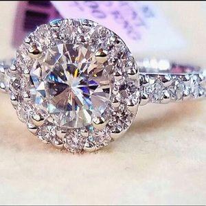 14k 2ctw ladies Diamond ring 1ctw center1ctwside